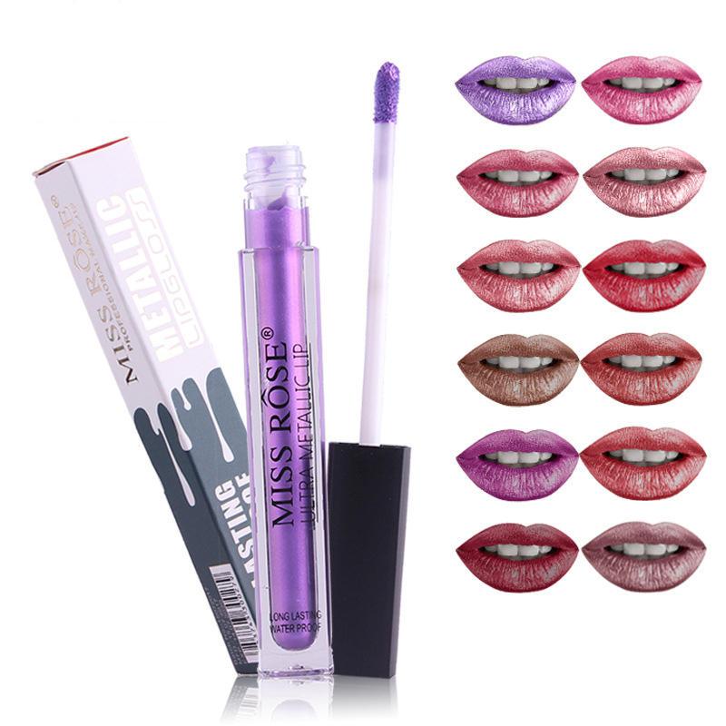 MISS ROSE Metallic Lip Gloss Matter Shimmer Glitter Kiss-proof Water Proof Lips Makeup Lipstick