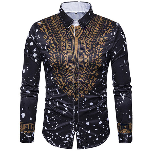 f1cd9a28a69 National Pattern Printing Button up Long Sleeve Fashion Designer Shirts for  Men COD