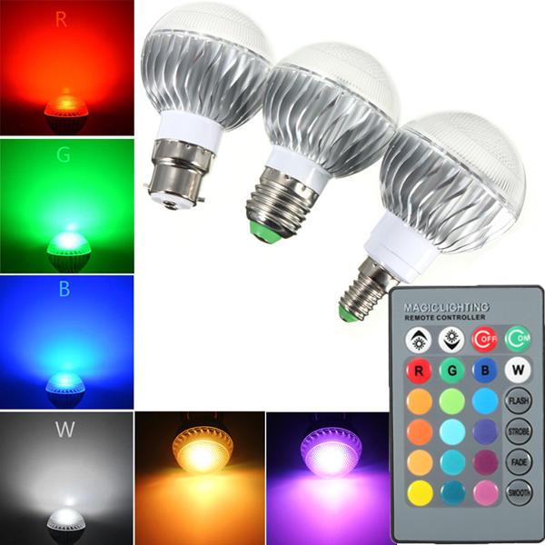 B22 E27 E14 5w Rgb Remote Controlled Colour Changing Led Light Bulb Ac 85 265v Cod