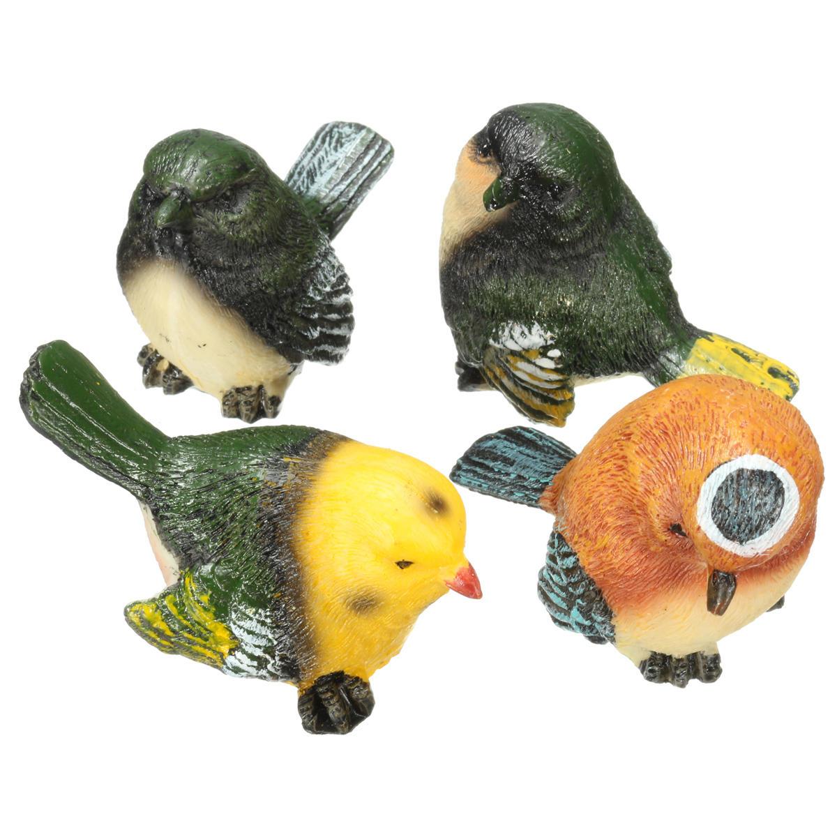 4 Unids / set Resina Aves Estatua Estatuilla Home Garden DIY Bonsai Escritorio Decoración Ornamento Decoraciones