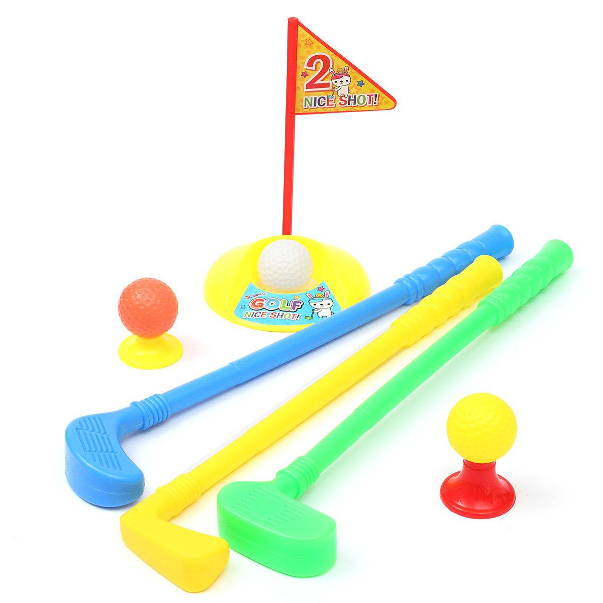 Conjunto de plástico 3 club de golf putter 2 bolas 2 poniendo taza 2 banderas 2 tees juguetes de niños