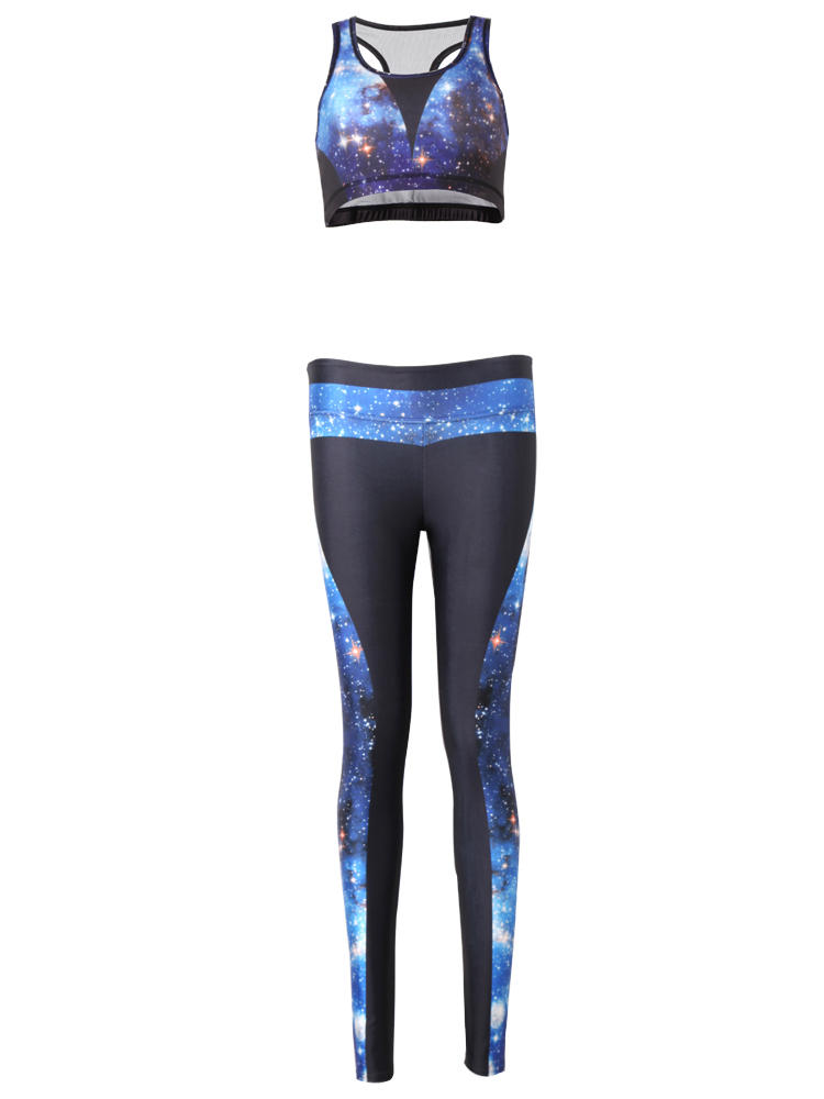 Women Starry Sky 3D Printed Yoga Gym Two Pieces Set Tracksuit