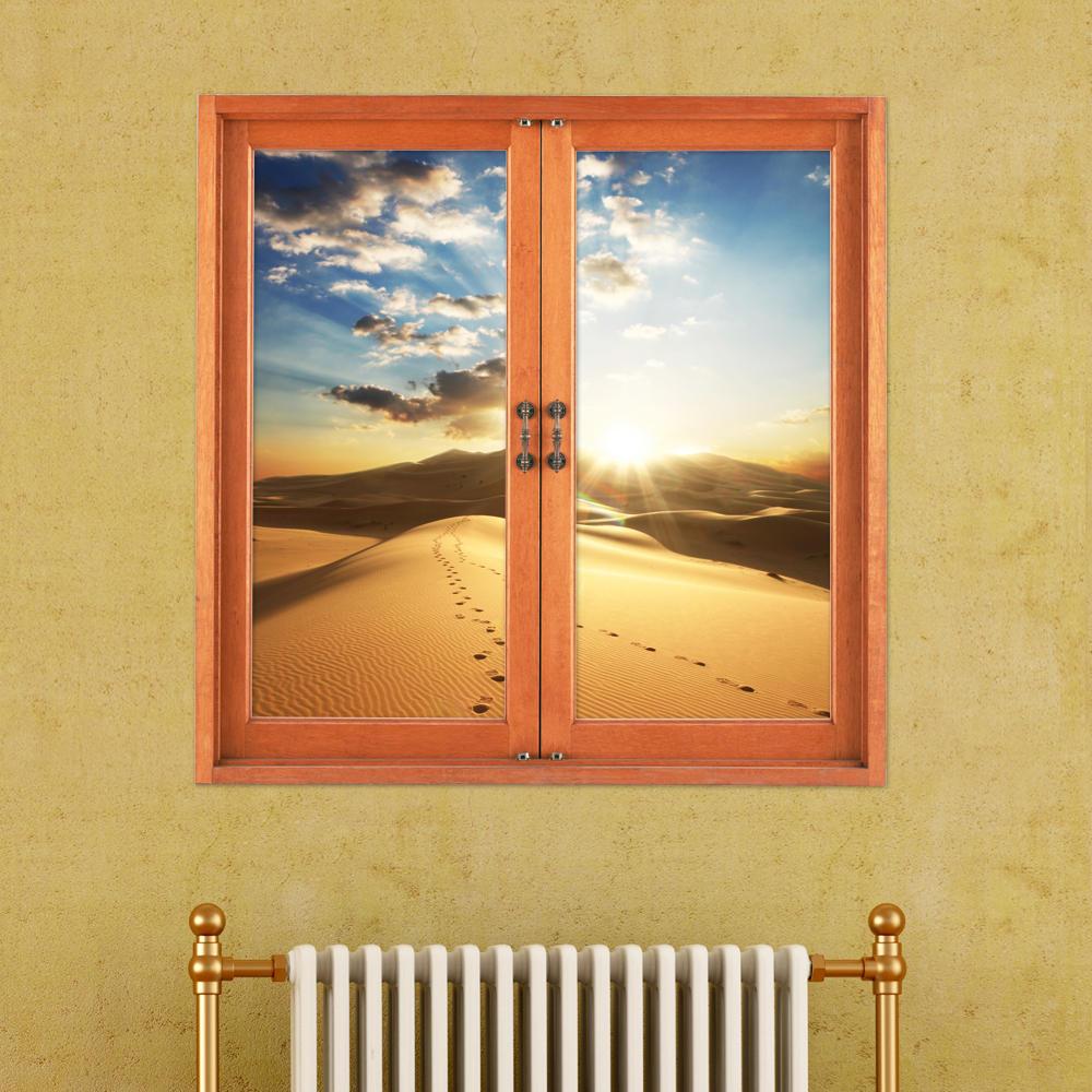Deserto 3d artificiale finestra vista decalcomanie 3d della parete della stanza tramonto adesivi pag regalo decorazione della parete di casa