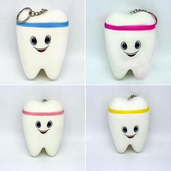 7 * 10cm Dente Squishy lento sollevamento pressione libera giocattoli cordino per la decorazione del telefono cellulare DIY