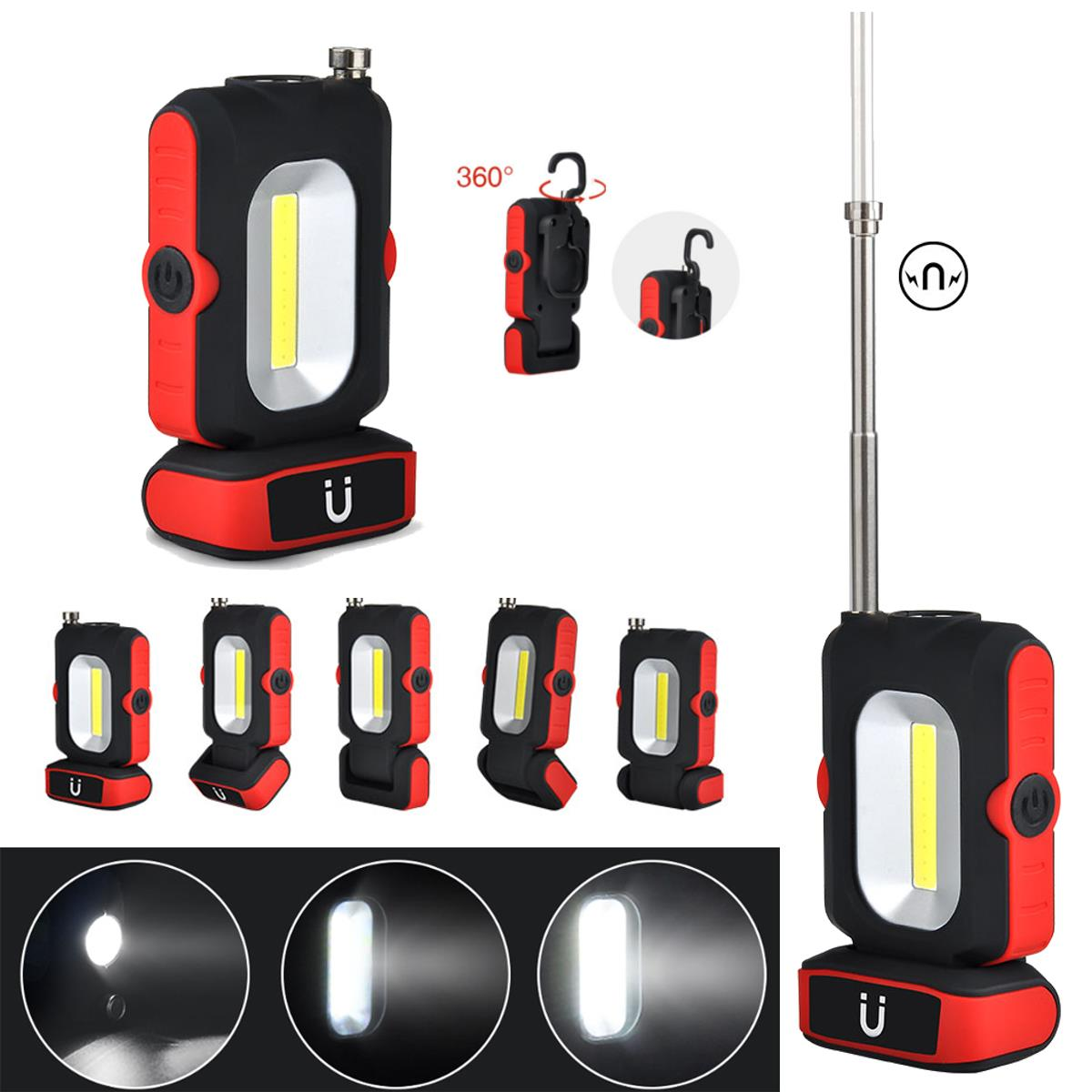 5 in1 XANES LF01 LED+COB Stretchable Magnetic Tail & Antenna Picker USB Rechargeable Work Light EDC Flashlight