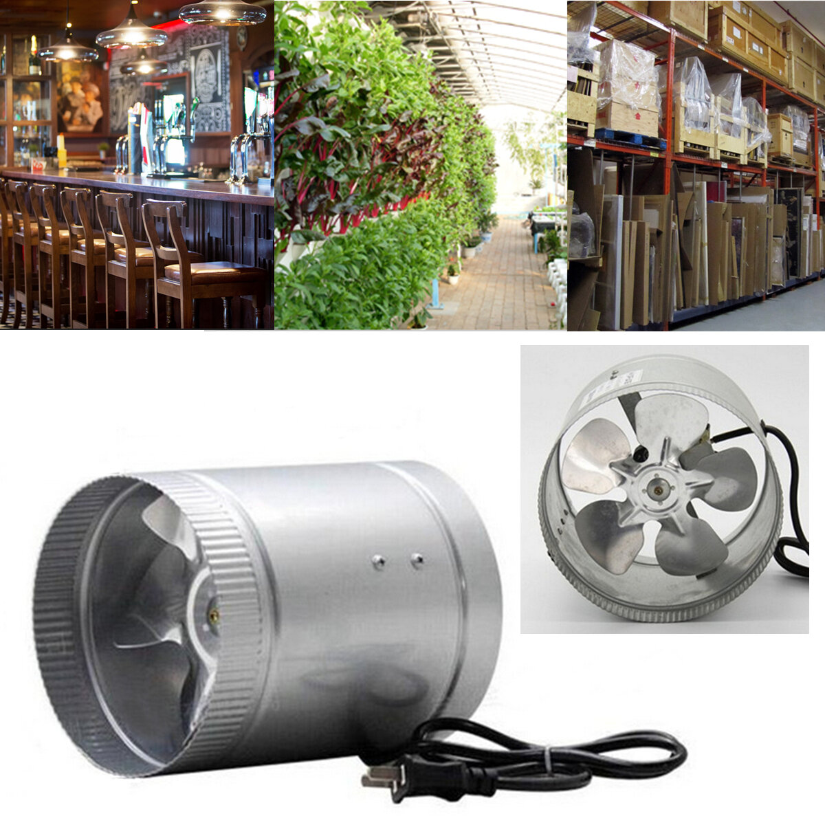 4 inch inline duct fan booster exhaust blower air cooling vent metal rh banggood com
