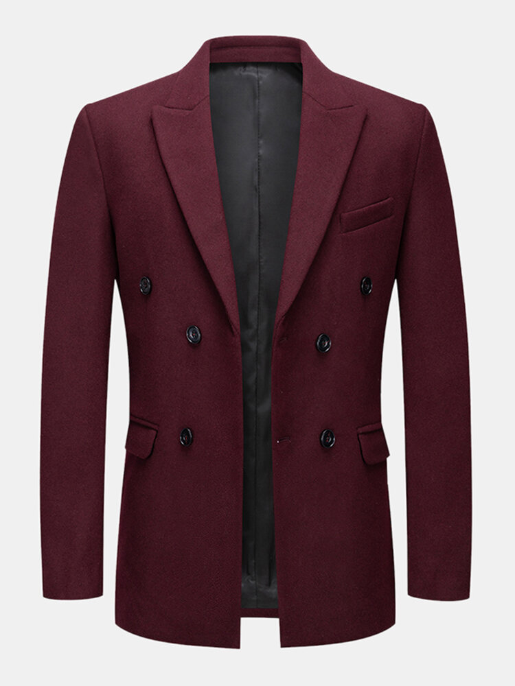 Mens Business Solid Color Lapel Side Pocket Long Sleeve Woolen Cloth Suits Jacket