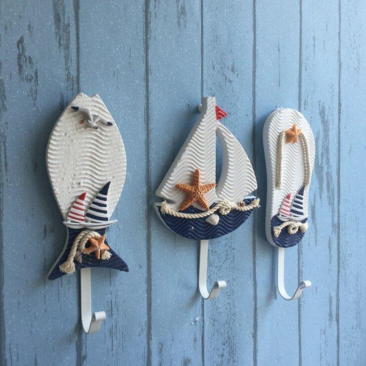 Stile mediterraneo grucce pothook vestiti Nautica cappello della casa della parete ganci appesi decorazione