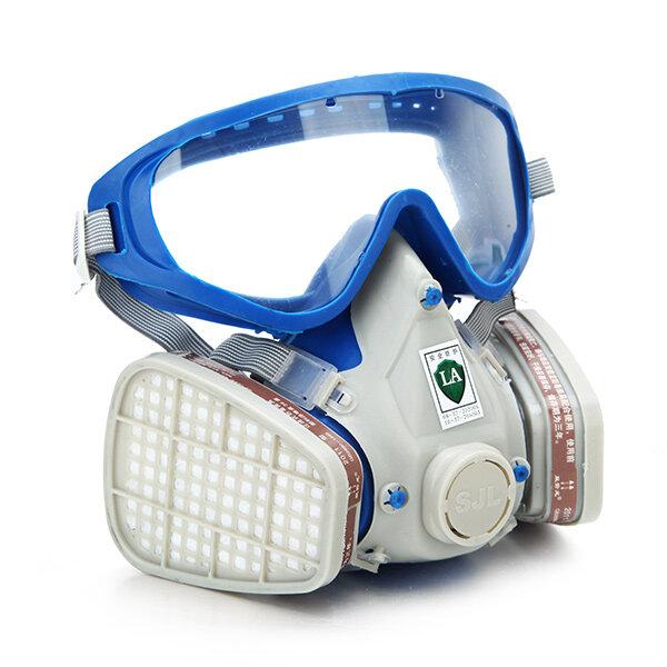 Máscara de Gas de Respirador de Completa Cara de Silicona & Goggles de Cubierta Integral Máscara de Pesticida Química de Pintura a Prueva del Plovo Escape del Fuego