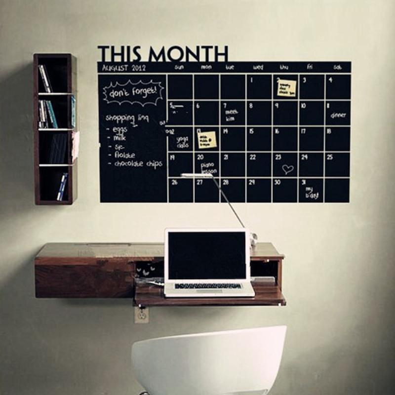Month Calendar Chalkboard Sticker Blackboard Removable Planner Wall Stickers Black Board Office School Vinyl Decals Supplies