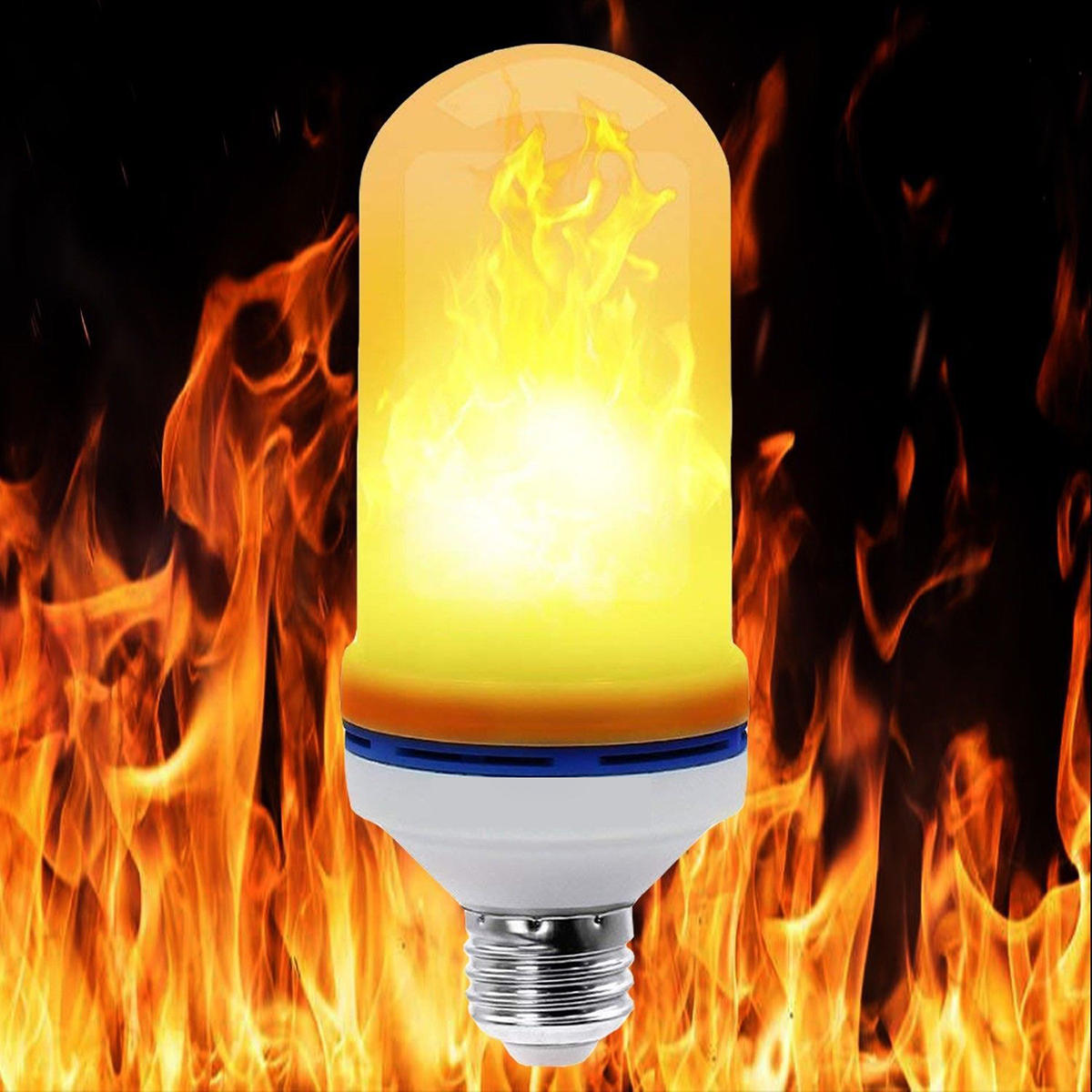 AC85-265V E27 3W 3 Modes LED Flame Effect Fire Light Bulb Flickering Emulation Party Lamp