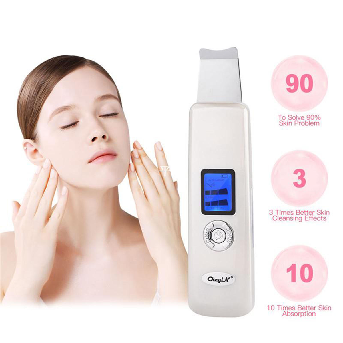 Portable Facial Ultrasonic LCD Skin Ion Scrubber Care Peeling Purifier Cleaner Beauty Machine
