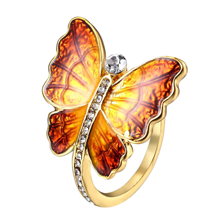 Dulce Esmalte Mariposa Anillo de Dedo Anillo de Moda de Diamantes personalidad Anillos de Regalo para Mujer