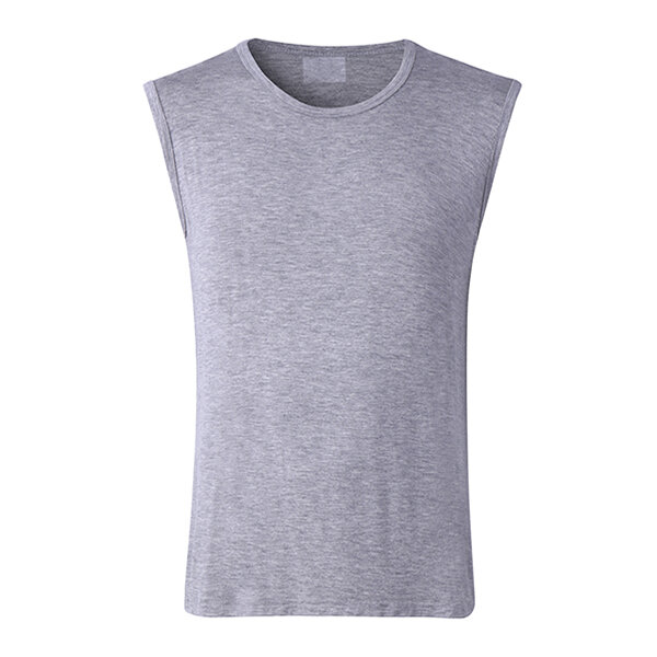 Mens Solid Color Round Neck Tank Tops Sport Vest Sleeveless Casual Modal Bottoming Tops