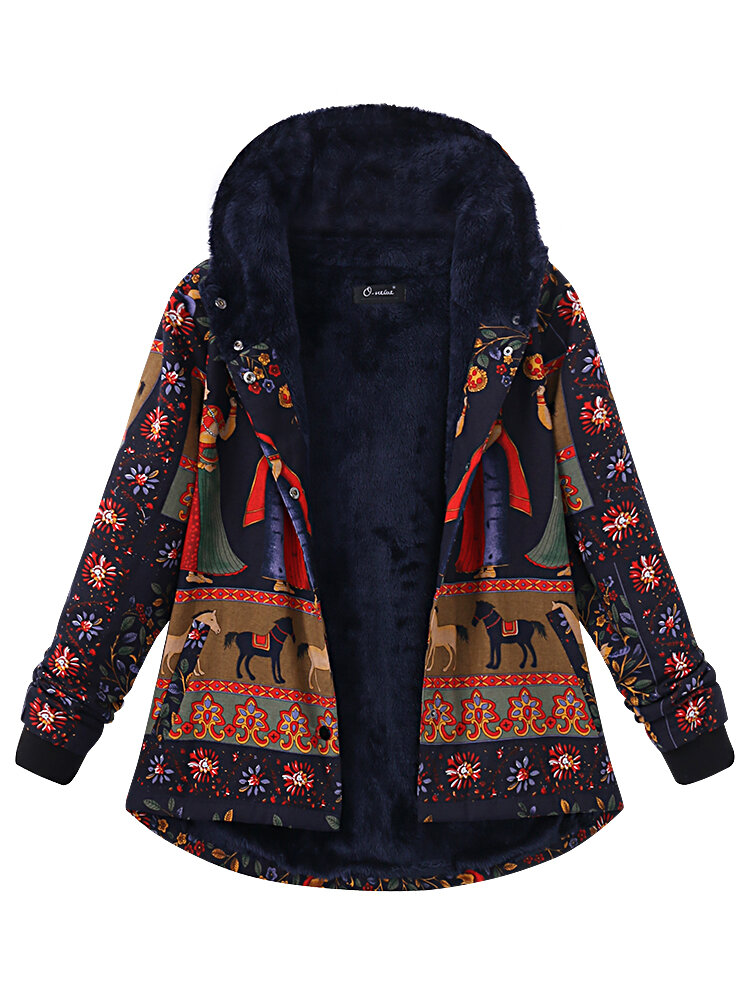 5b736281bf9 Plus Size Thick Warm Coats Casual Women Printing Hooded Coat COD