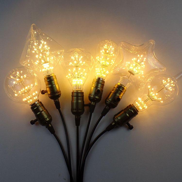 ZX E27 E14 3WレトロSkyスターエジソン電球LED白熱電球シャンデリア光AC220Vを吊るす