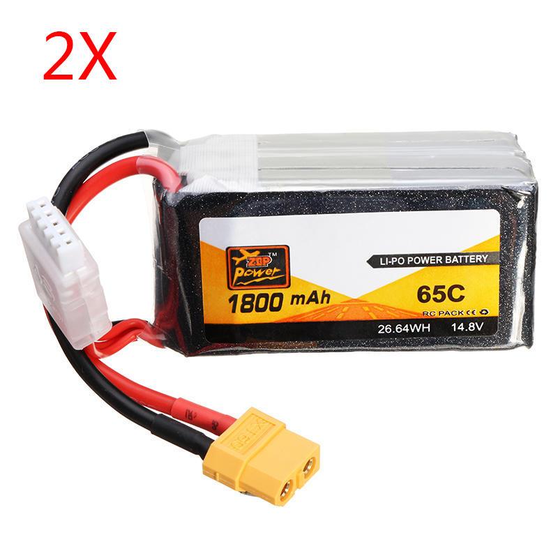 2 PCS ZOP Potencia 14.8V 1800mAh 65C 4S Batería de Lipo XT60 Enchufe