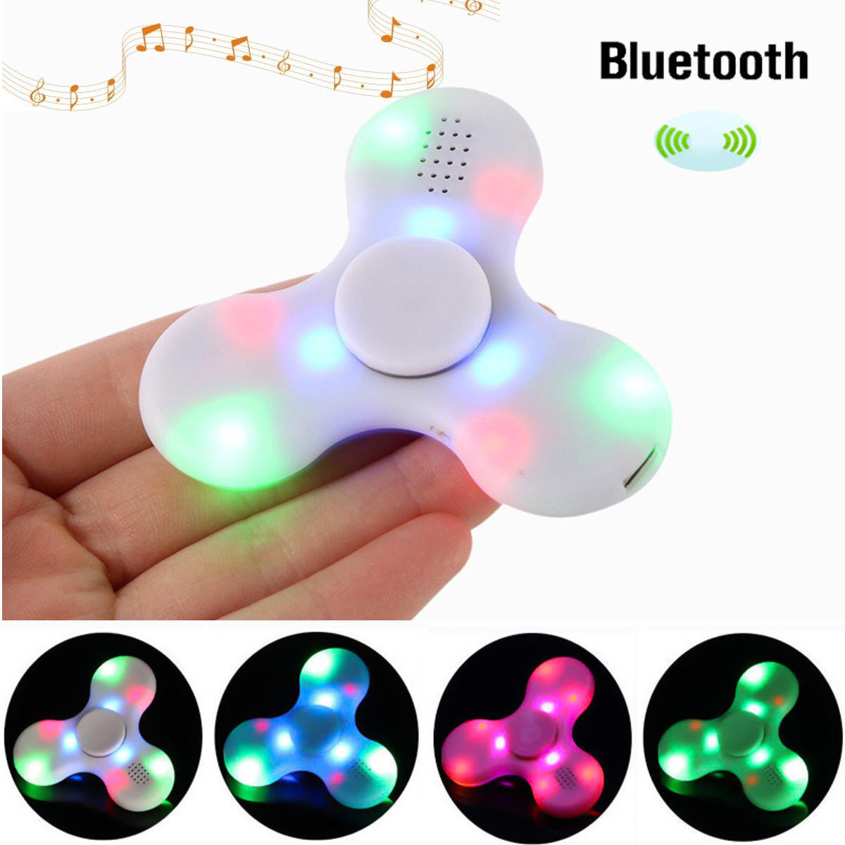 ECUBEE bluetooth Hand Spinner Chargeable Music LED Fidget Spinner Finger Focus Reduce Stress Gadget