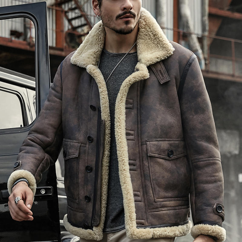 519c4ea6c01 ChArmkpR Mens Biker Jacket Big Pocket Thick Warm Winter Shearling Faux  Leather Coats COD