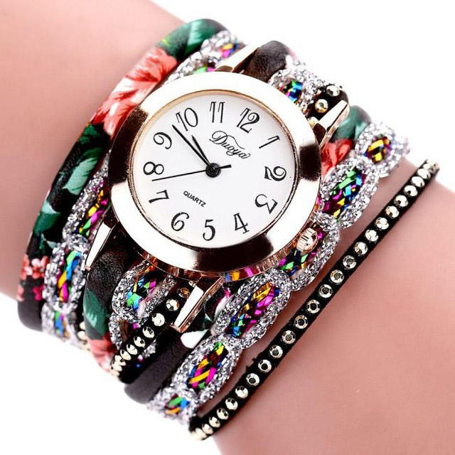 DUOYA XR1886 Retro Style Bracelet Watch Flower Picture Ladies Quartz Watches