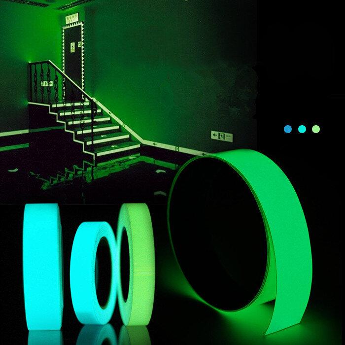 5mx15mm 빛나는 테이프 자기 접착 성 녹색 파란색 어둠의 안전 무대 장식 스티커에 빛나는