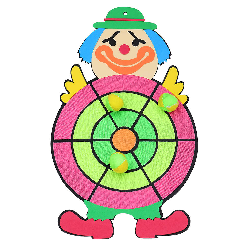 26 45cm Clown Figure Dartboard Sucker Sticky Ball Dart Board Game