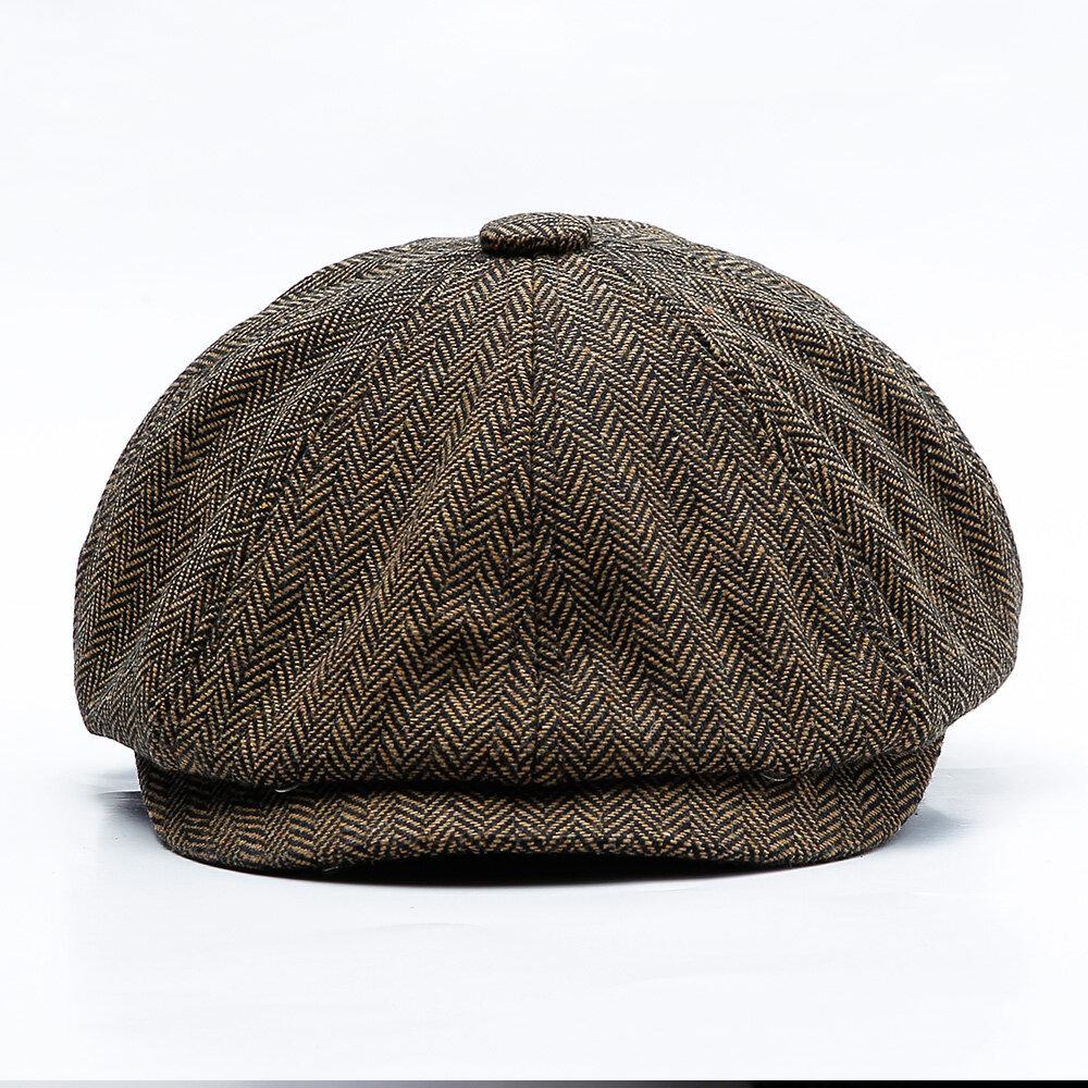 Muži Středního věku Bavlna Newsboy Lovecký klobouk Solid Warm Beret Caps  Short Brim ... 886b8e6a18