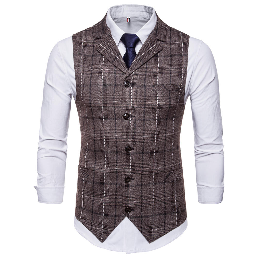 8a282fa8ade83 Plaid Printing Fashion Business Waistcoat Suit Vest for Men