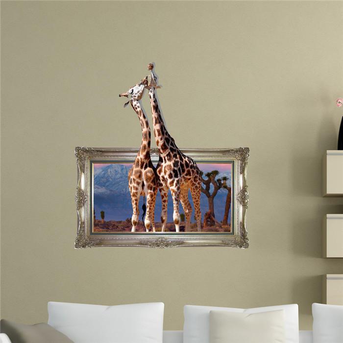 Giraffe 3d Wandtattoo Pag Aufkleber Entfernbare Wandbild Kunst Tiere