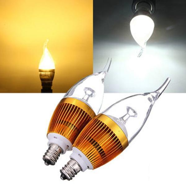 E12 3W AC85-265V White/Warm White Golden Cover LED Candle Light Bulb
