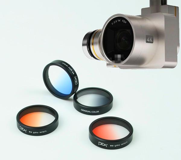 Lente de filtro color degradado filtro lente gradiente rojo naranja azul gris para DJI Phantom 4 Phantom 3