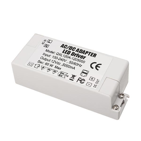 AC100-240V ถึง DC12V 5A 60 วัตต์ LED พาวเวอร์ซัพพลายไฟแปลงไฟอแด็ปเตอร์ไดร์เวอร์สำหรับหลอดไฟสตริป