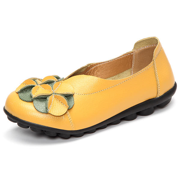 US Size 5-13 Women Flower Flat Shoes Casual Outdoor Leather Slip On Round Toe Loafers