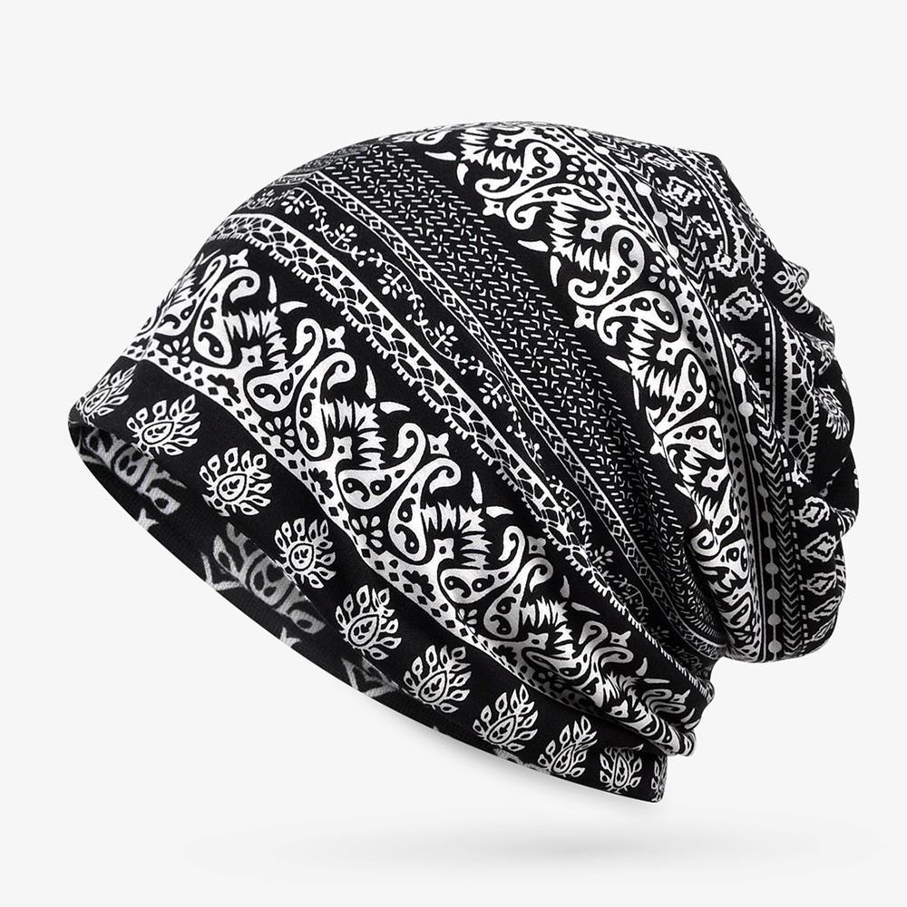 Womens Summer Ethnic Printting Beanie Hats Scarf Cotton Double Use Turban  Caps COD e8b8a056922