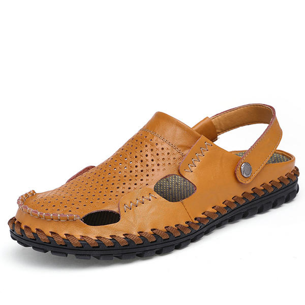 ac8fe5efcf3c Men Summer Hollow Out Casual Outdoor Fashion Leather Beach Soft Flat Sandal  Shoes COD