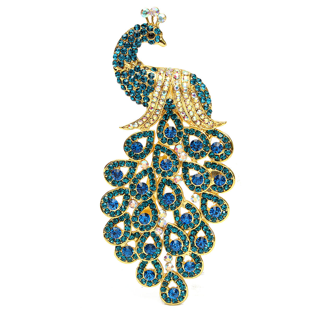Vintage Gold-plated Peacock Bird Blue Crystal Bird Brooches Pin