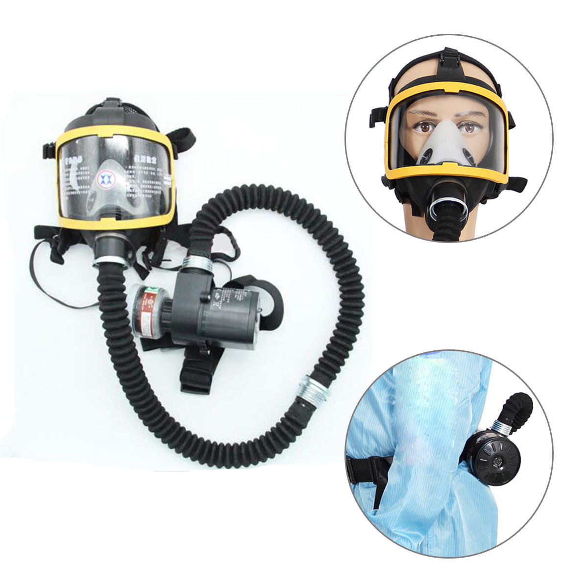 Electric Supplied Air Fed Full Face Gas Mask Constant Flow Respirator System