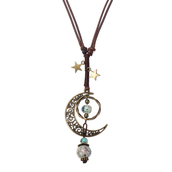 Vintage Star Moon Necklace Ethnic Ceramic Handmade Adjustable Pendant for Women