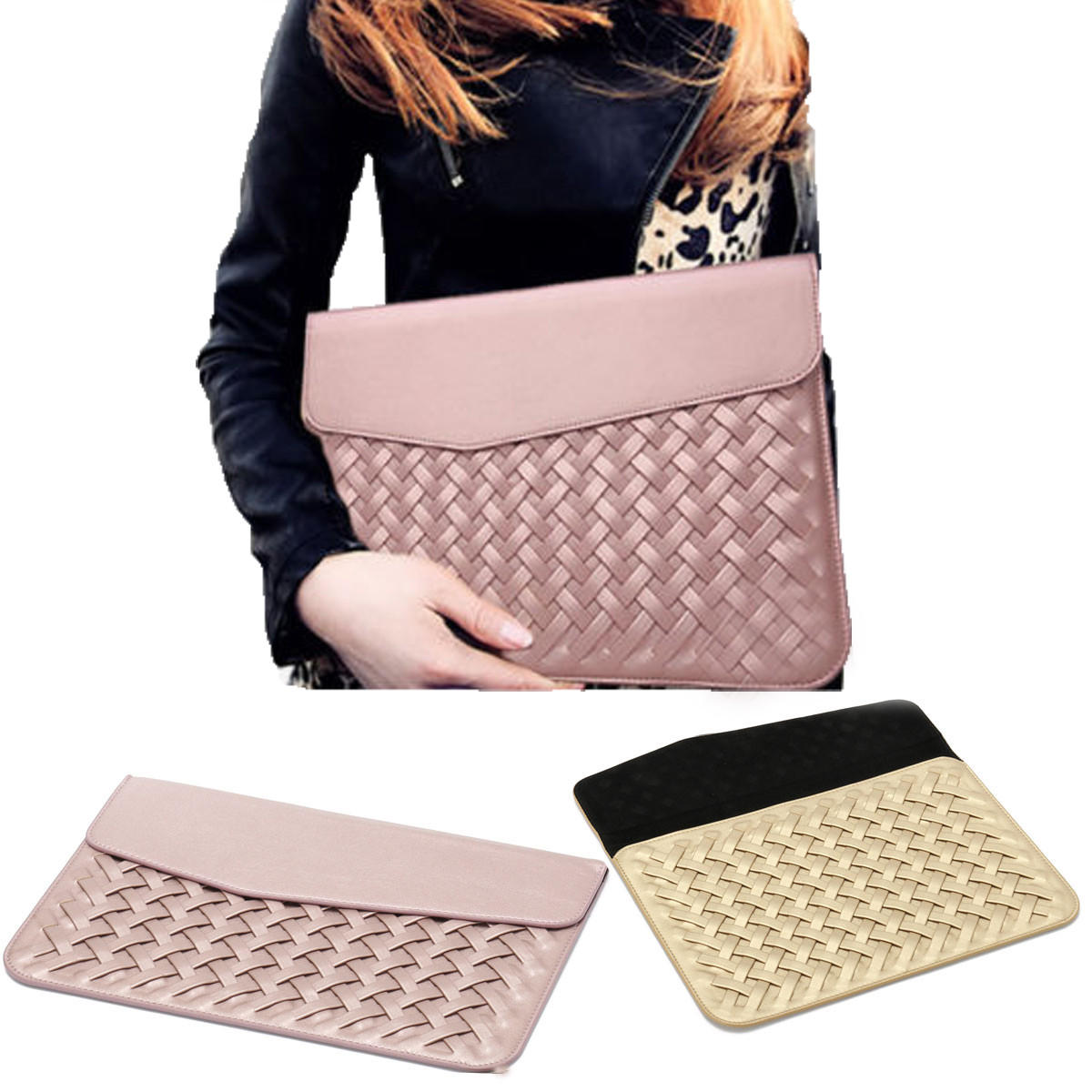 12 inch Weaving Laptop Bag PU Leather Case Cover Bag for Xiaomi Makbook Laptop