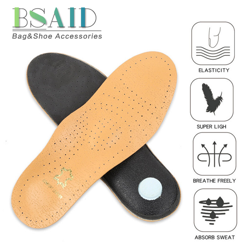 Premium Leather Orthopedic Insole Antibacterial Active Carbon for Flat Foot Arch Support Foot Care Shoe Pad for Men Women