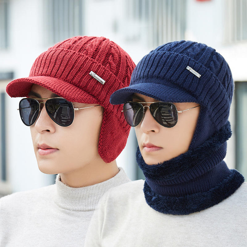 f3ce4ba80a4d60 Men Women Winter Windproof Plus Velvet Knit Hat Scarf Set Outdoor Thicken  Ski Earmuffs Cap COD