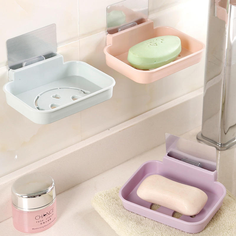 Honana Bx 084 Bathroom Soap Dish Sink Sponge Holder Candy Color Magic Sticker Waterfall Cod