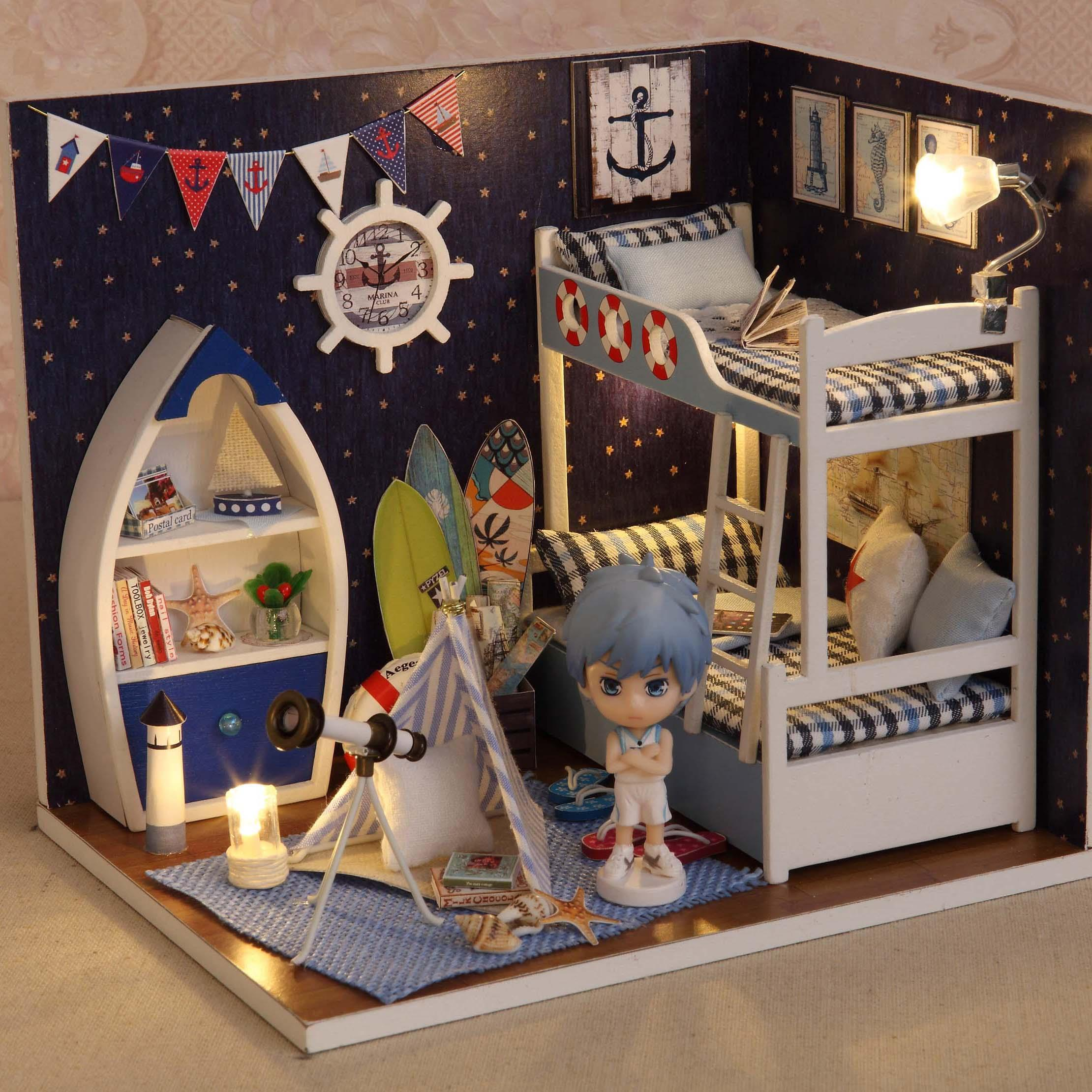Cuteroom Diy Wooden Dollhouse Face To Sky Handmade Decorations Model
