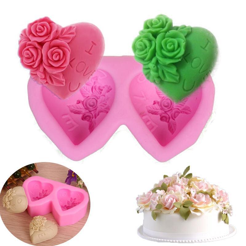 heart shaped rose silicone baking mold fondant cake mold diy