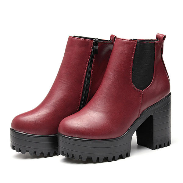 105207e41083 women ankle boots chunky platforms block high heels zipper shoes at ...