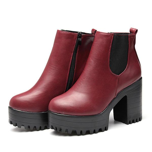 70fbee6d2cb9 women ankle boots chunky platforms block high heels zipper shoes at ...