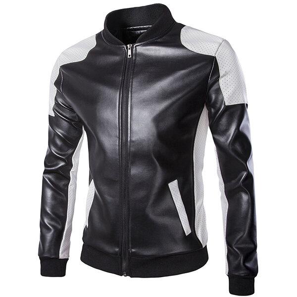 บุรุษหนังแฟชั่น PU หนังเย็บร้อยด้วยผ้าสีดำ รถจักรยานยนต์ เสื้อคอปกเบสบอล Biker Jacket