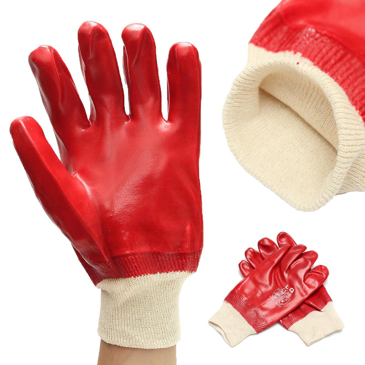 12 paires imperméables PVC résistant à la corrosion Knitwris Gants à main Gants de travail