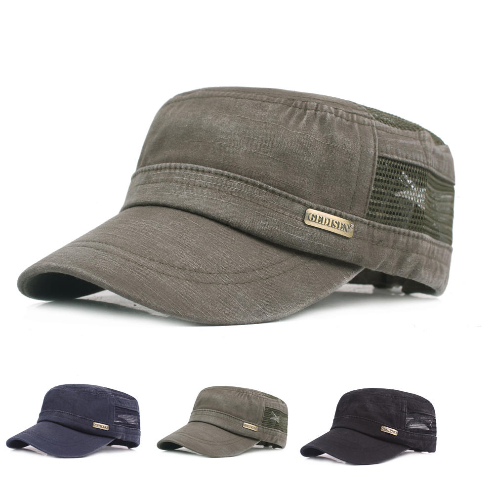 Mens Summer Solid Hollow Out Flat Hats Outdoor Peaked Cap At Banggood