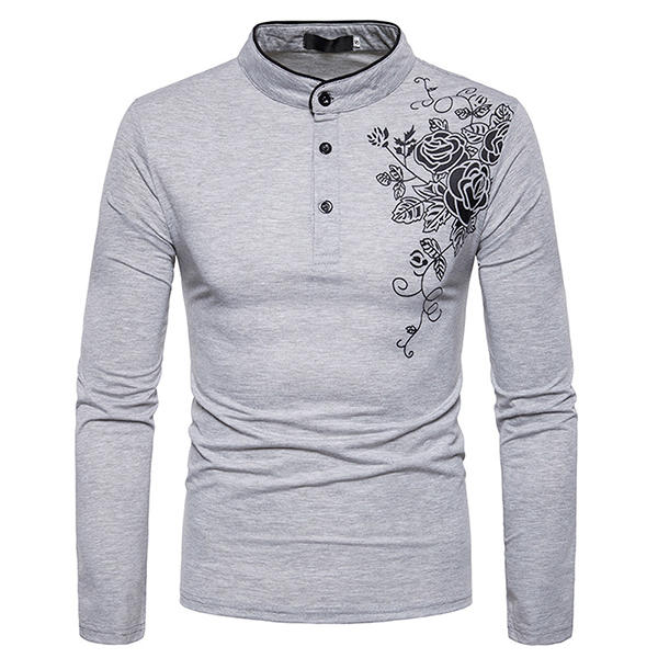 Men's Fashion Rose Printed T-shirt Casual Henry Collar Long Sleeved Tops Tees